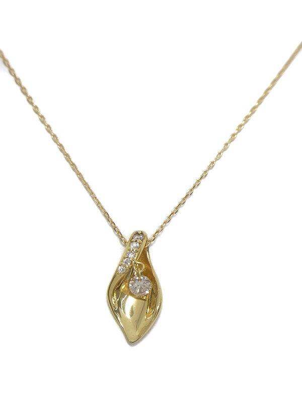 セレクトジュエリー『K18YGネックレス ダイヤモンド0.08ct 0.03ct』1週間保証【中古】