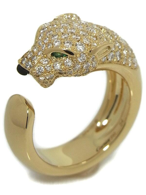 【Cartier】【メーカー仕上済】カルティエ『パンテール ドゥ カルティエ リング ダイヤ エメラルド』14号 1週間保証【中古】