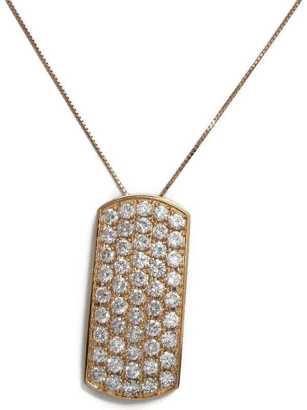 【パヴェダイヤ】セレクトジュエリー『K18PGネックレス ダイヤモンド5.19ct』1週間保証【中古】