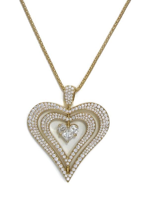 セレクトジュエリー『K18YGネックレス ダイヤモンド0.91ct 1.53ct ハートモチーフ』1週間保証【中古】