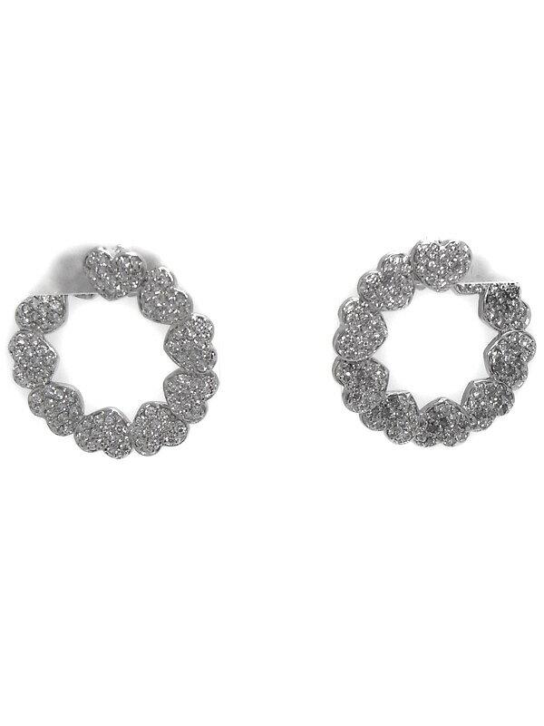 【螺旋】【立体】セレクトジュエリー『K18WGピアス ダイヤモンド0.75ct 0.75ct パヴェハートモチーフ』1週間保証【中古】