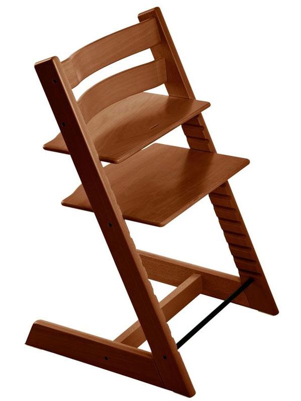 ストッケ『トリップ トラップ』ウォルナットブラウン ハイチェア 北欧デザイン 木製ベビーチェア 【中古】