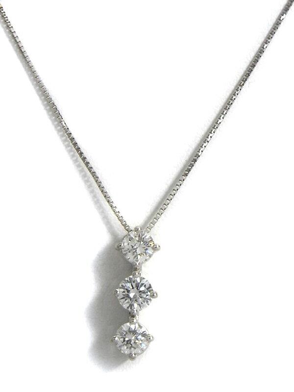 【仕上済】セレクトジュエリー『PT900/PT850ネックレス ダイヤモンド0.60ct』1週間保証【中古】
