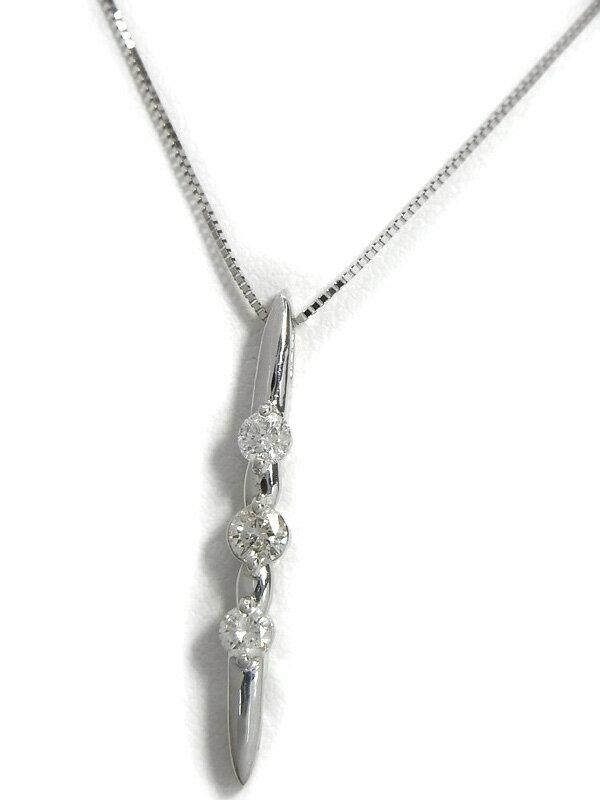 【2Way】セレクトジュエリー『K18WGネックレス ダイヤモンド0.30ct』1週間保証【中古】