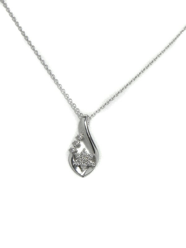 セレクトジュエリー『K18WGネックレス ダイヤモンド0.10ct フラワーモチーフ』1週間保証【中古】