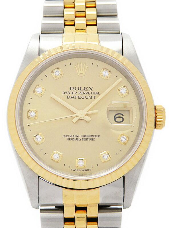 【ROLEX】【'14年日ロレOH済】ロレックス『デイトジャスト 10Pダイヤ』16233G T番'96年頃製 メンズ 自動巻き 12ヶ月保証【中古】