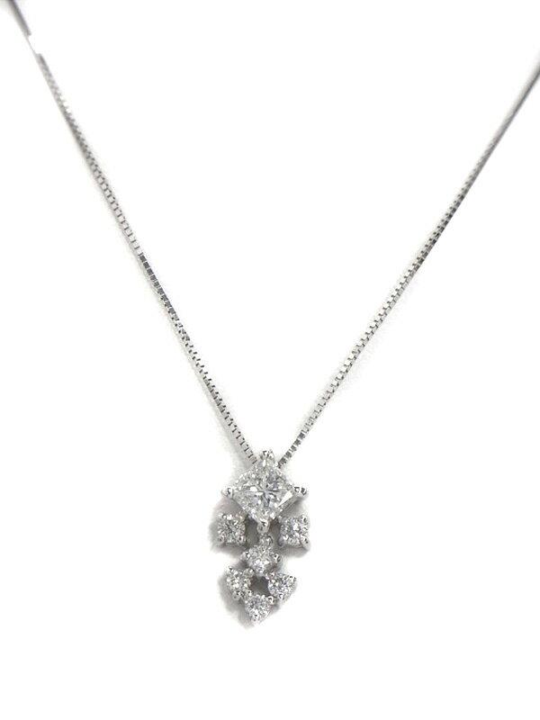 セレクトジュエリー『PT900/K18WGネックレス ダイヤモンド0.50ct』1週間保証【中古】
