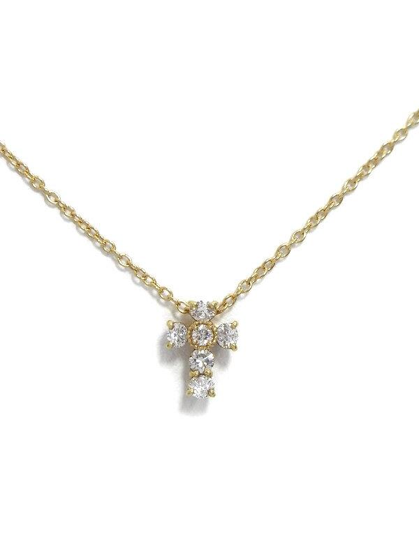 【Ponte Vecchio】ポンテヴェキオ『K18YGネックレス ダイヤモンド0.22ct クロスモチーフ』1週間保証【中古】
