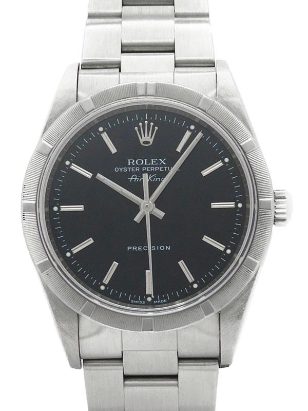 【ROLEX】【エンジンターンドベゼル】【OH済】ロレックス『エアキング』14010M P番'00年頃製 メンズ 自動巻き 12ヶ月保証【中古】