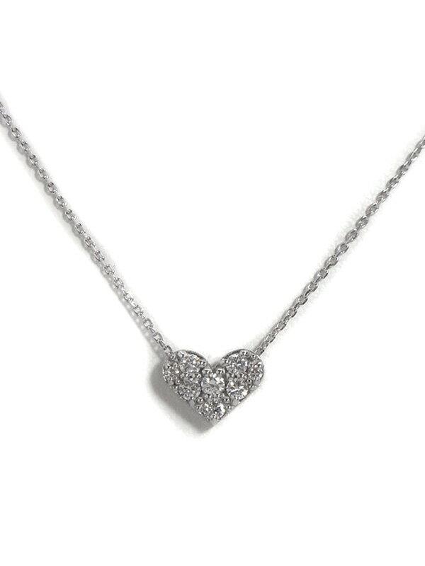 【Ponte Vecchio】【仕上済】ポンテヴェキオ『K18WGネックレス ダイヤモンド0.20ct パヴェハートモチーフ』1週間保証【中古】