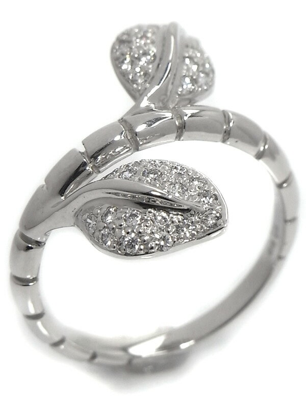 【仕上済】セレクトジュエリー『K18WGリング ダイヤモンド0.30ct リーフデザイン』11.5号 1週間保証【中古】