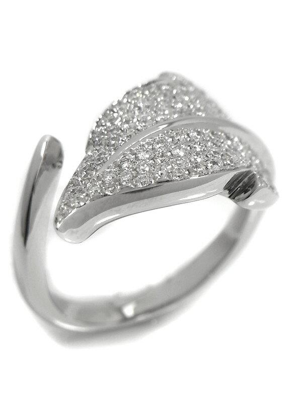 【仕上済】セレクトジュエリー『K18WGリング ダイヤモンド0.70ct リーフデザイン』11.5号 1週間保証【中古】