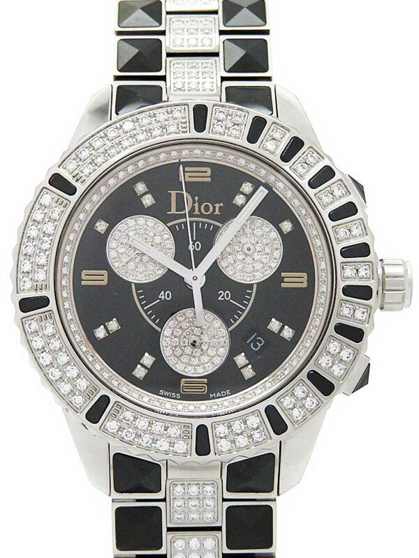 【Christian Dior】【電池交換済】クリスチャンディオール『クリスタル クロノグラフ ダイヤモンド』CD11431DM001 メンズ クォーツ 3ヶ月保証【中古】