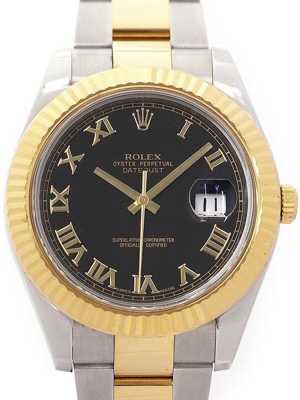 【ROLEX】【ブラックローマン】【OH済】ロレックス『デイトジャスト2』116333 V番'09年頃製 メンズ 自動巻き 12ヶ月保証【中古】