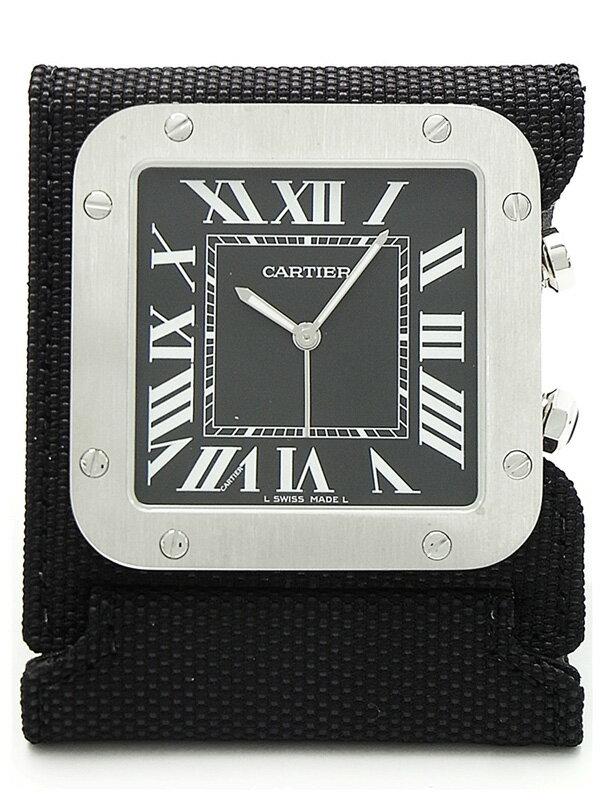 【CARTIER】【置時計】【美品】カルティエ『サントス トラベルクロック』W0100152 クォーツ 1ヶ月保証【中古】
