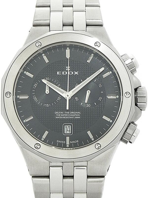 【EDOX】【'17年購入】【美品】エドックス『デルフィン オリジナル クロノグラフ』10110-3M-NIN メンズ クォーツ 1ヶ月保証【中古】