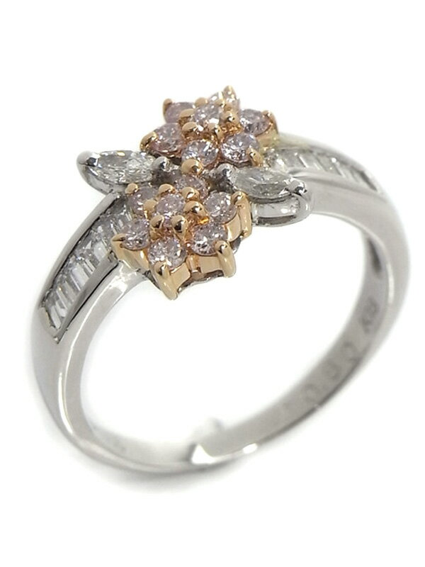【仕上済】セレクトジュエリー『PT900/K18PGリング ダイヤモンド0.80ct フラワーモチーフ』12号 1週間保証【中古】