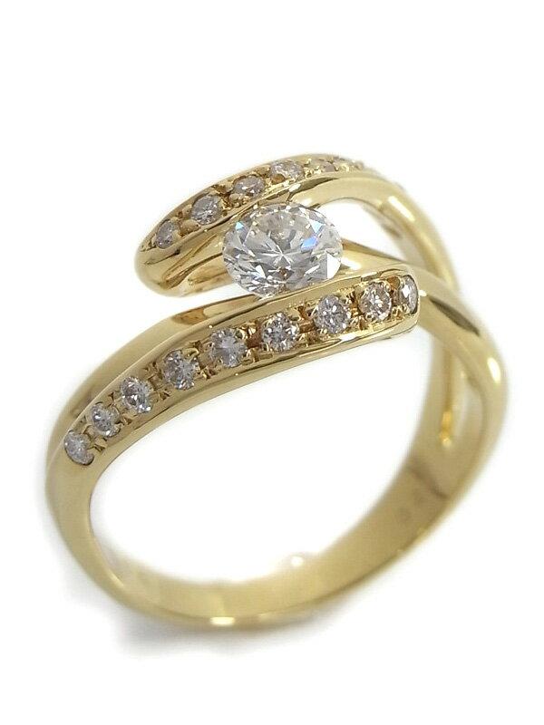 【仕上済】セレクトジュエリー『K18YGリング ダイヤモンド0.39ct 0.22ct』13号 1週間保証【中古】