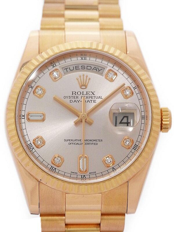 【ROLEX】ロレックス『デイデイト 10Pダイヤ』118235A P番'00年頃製 メンズ 自動巻き 12ヶ月保証【中古】