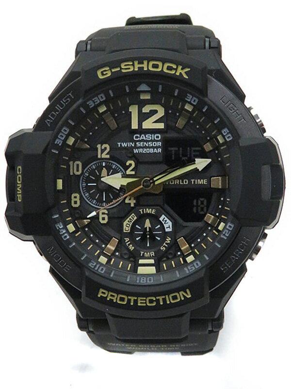 【CASIO】【G-SHOCK】【美品】カシオ『Gショック ヴィンテージブラック&ゴールド』GA-1100GB-1AJF メンズ クォーツ 1週間保証【中古】