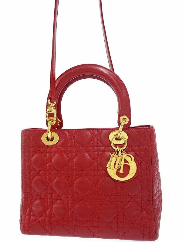 【Christian Dior】【カナージュ】クリスチャンディオール『レディディオール (M)』レディース 2WAYバッグ 1週間保証【中古】