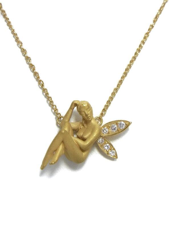 【Carrera y Carrera】【妖精】カレライカレラ『K18YGネックレス ダイヤモンド フェアリーモチーフ』1週間保証【中古】