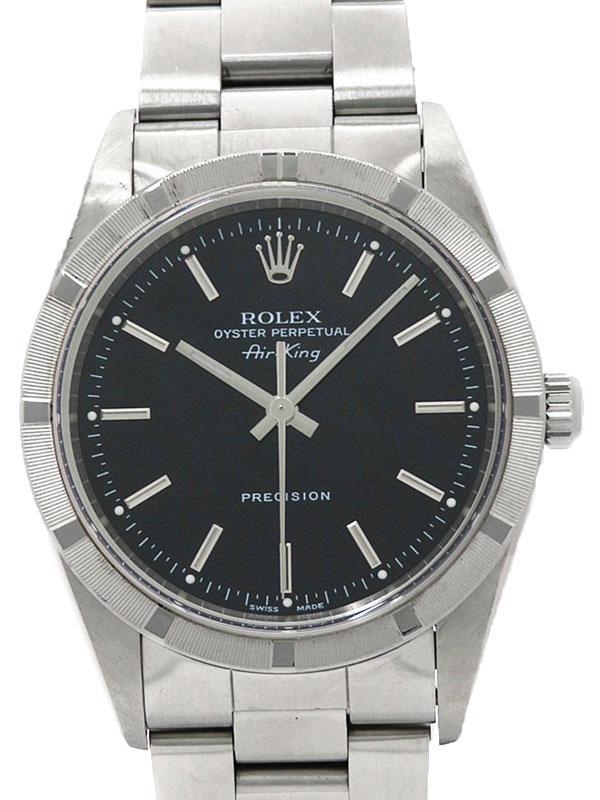 【ROLEX】【OH・仕上済】【エンジンターンドベゼル】ロレックス『エアキング』14010 A番'99年頃製 メンズ 自動巻き 12ヶ月保証【中古】