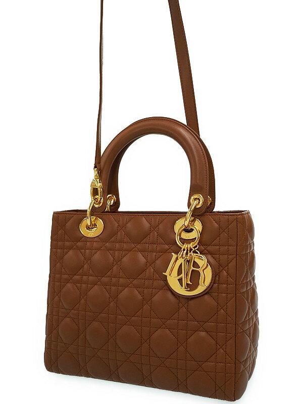 【Dior】【カナージュ】クリスチャンディオール『レディディオール(M)』レディース 2WAYバッグ 1週間保証【中古】