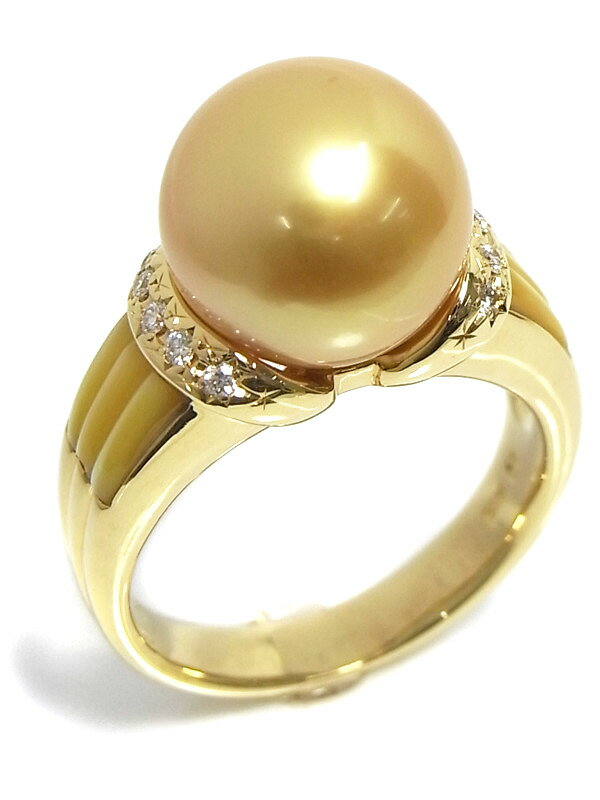 【TASAKI】【真珠鑑別書】タサキ『K18YGリング ゴールデンパール11.4mm ダイヤ0.09ct シェル』13号 1週間保証【中古】