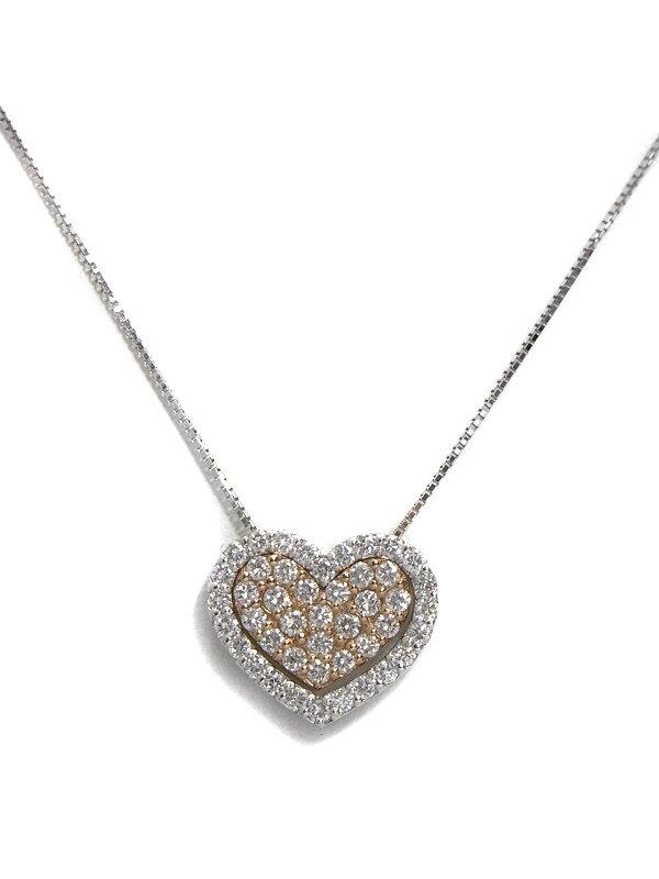 【2Way】セレクトジュエリー『K18WG/K18PGネックレス ダイヤモンド0.48ct 0.46ct ハートモチーフ』1週間保証【中古】