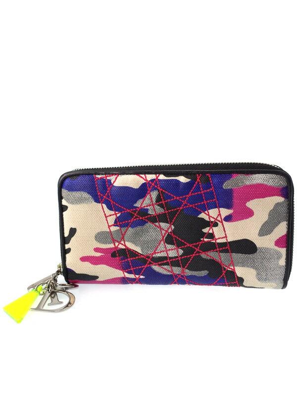 【Christian Dior】クリスチャンディオール『アンセルムライル ラウンドファスナー長財布』レディース 1週間保証【中古】