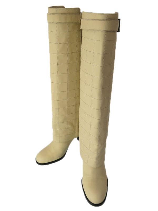 【CHANEL】シャネル『チョコバー ロングブーツ size37 1/2』レディース 1週間保証【中古】