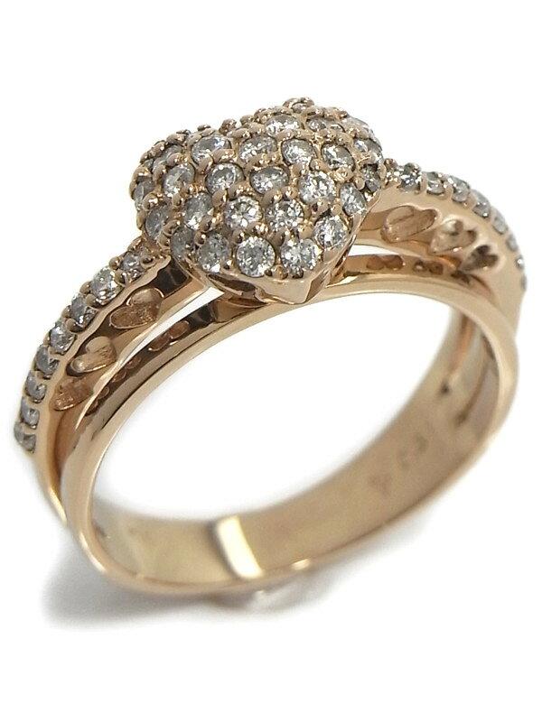 【Ponte Vecchio】ポンテヴェキオ『K18PGリング ダイヤモンド0.51ct パヴェハートモチーフ』11号 1週間保証【中古】