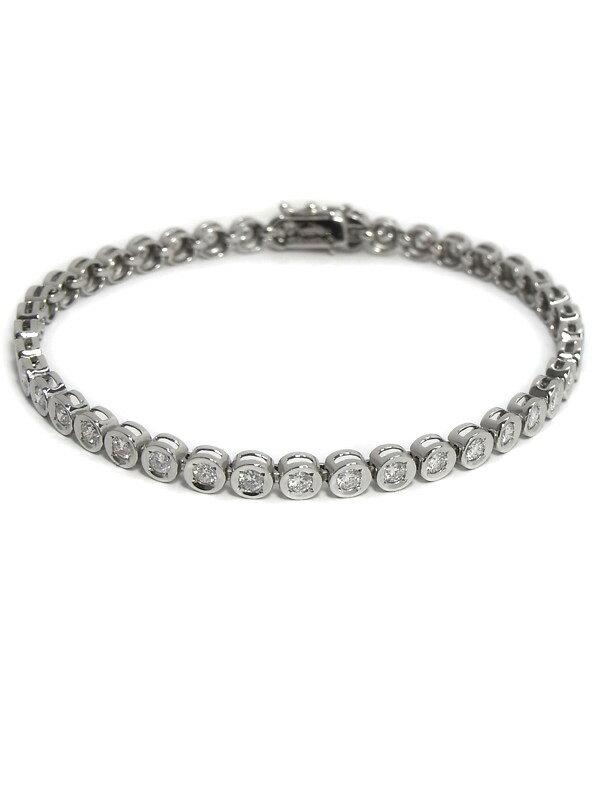 【仕上済】セレクトジュエリー『PT850ブレスレット ダイヤモンド2.00ct テニスブレス』1週間保証【中古】