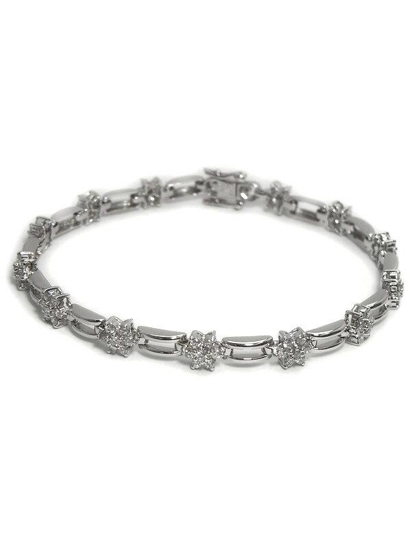 セレクトジュエリー『K18WGブレスレット ダイヤモンド1.50ct フラワーデザイン』1週間保証【中古】
