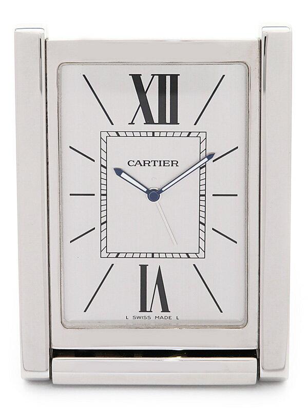 【CARTIER】【置時計】カルティエ『トラベルクロック サントス』W100099 クォーツ 1週間保証【中古】