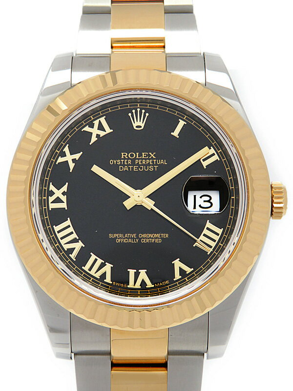 【ROLEX】【ブラックローマン】【'15年購入】ロレックス『デイトジャスト2』116333 ランダム製番 メンズ 自動巻き 12ヶ月保証【中古】