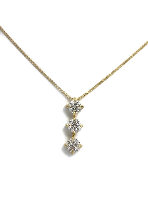 セレクトジュエリー『K18YGネックレス 3Pダイヤモンド0.30ct』1週間保証【中古】
