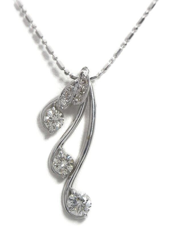 セレクトジュエリー『K18WGネックレス ダイヤモンド0.78ct スウィングモチーフ』1週間保証【中古】