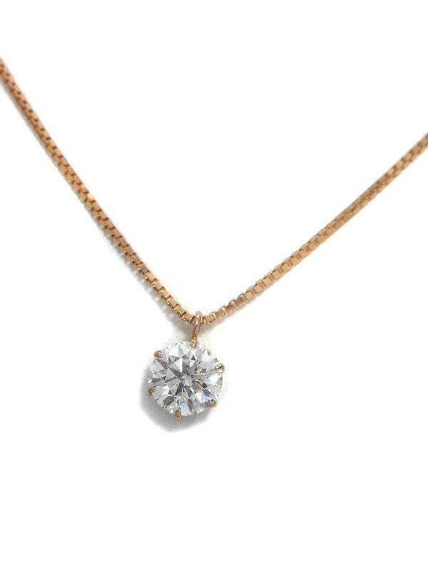 【鑑定書】セレクトジュエリー『K18PGネックレス 1Pダイヤモンド0.560ct/G/SI-2/EXCELLENT 3EX』1週間保証【中古】