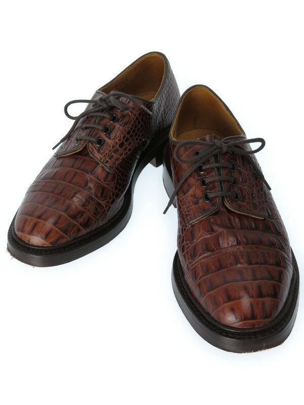 【Tricker's】【紳士靴】トリッカーズ『クロコ型押し キャップトゥカントリーシューズ size8 1/2』M7195 メンズ 1週間保証【中古】