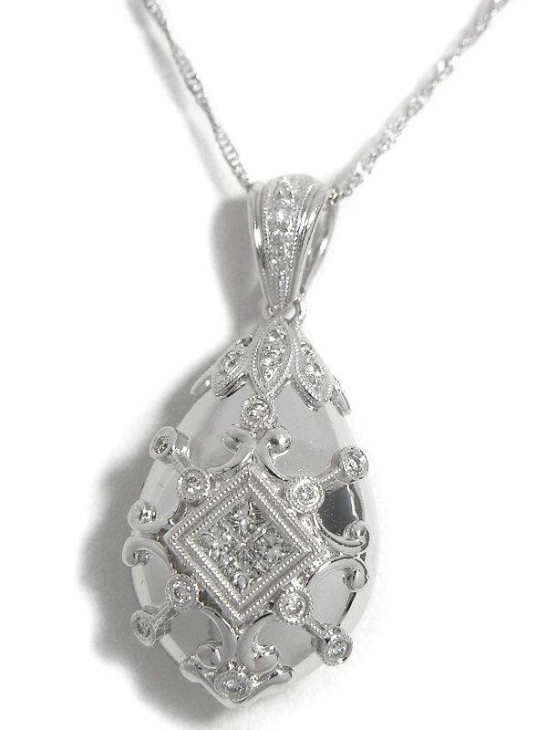 セレクトジュエリー『K18WGネックレス ダイヤモンド0.22ct 0.16ct』1週間保証【中古】