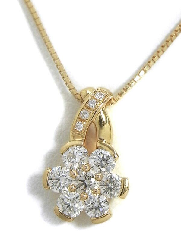 セレクトジュエリー『K18YGネックレス ダイヤモンド0.75ct 0.02ct フラワーモチーフ』1週間保証【中古】
