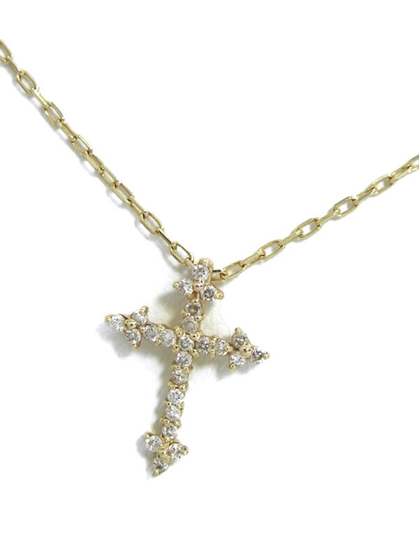 セレクトジュエリー『K10YGネックレス ダイヤモンド0.12ct クロスモチーフ』1週間保証【中古】