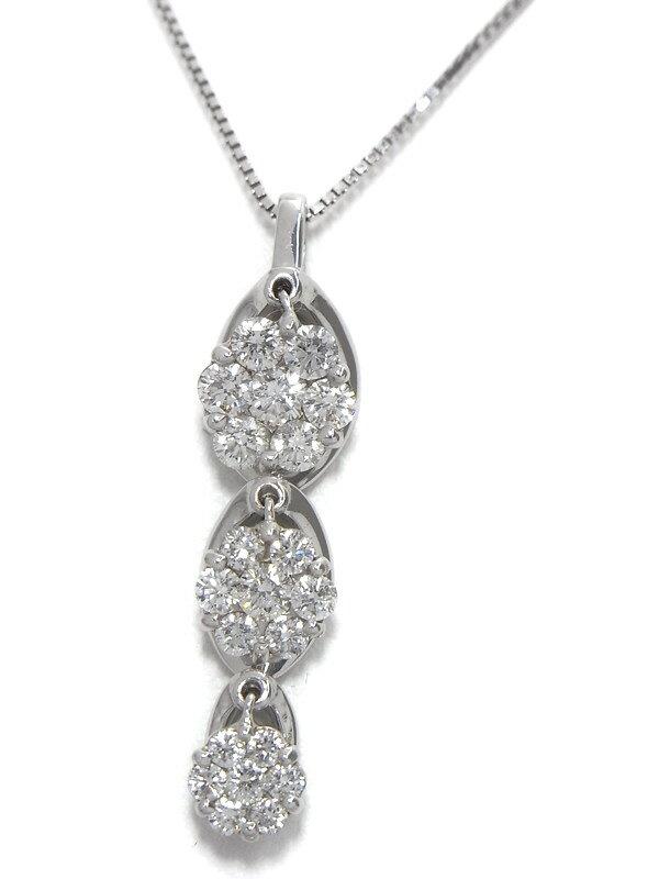 セレクトジュエリー『K18WGネックレス ダイヤモンド1.00ct フラワーモチーフ』1週間保証【中古】