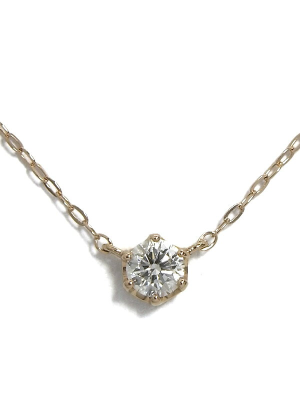 【4℃】ヨンドシー『K18PGネックレス 1Pダイヤモンド』1週間保証【中古】