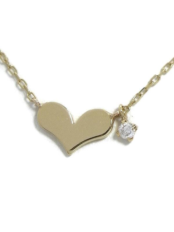 セレクトジュエリー『K10YGネックレス ダイヤモンド0.03ct ハートモチーフ』1週間保証【中古】