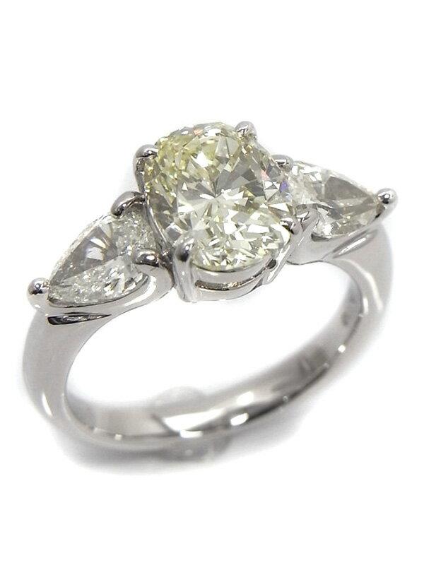 【ソーティング】【仕上済】セレクトジュエリー『PT900リング ダイヤモンド2.084ct/LIGHT YELLOW/VS-2 1.08ct』11号 1週間保証【中古】