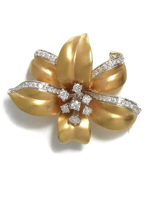 【Queen】【百合】クイーン『K18PGブローチ ダイヤモンド0.45ct ユリモチーフ』1週間保証【中古】