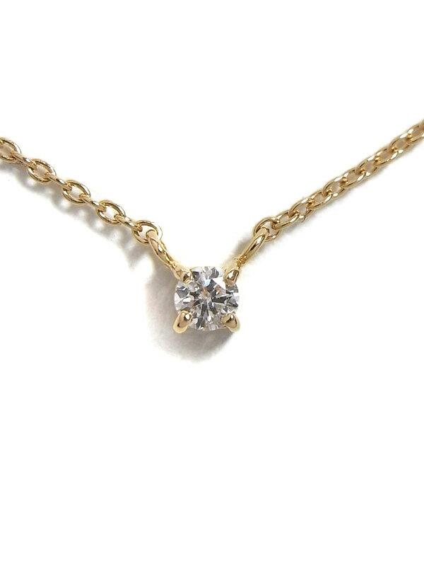 【ete】エテ『K18PGネックレス 1Pダイヤモンド0.05ct』1週間保証【中古】